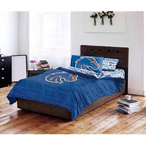 Ncaa 5 Piece Full Comforter - 5 Piece NCAA Boise State University Broncos Comforter Full Set, Sports Patterned Bedding, Featuring Team Logo, Fan Merchandise, Team Spirit, College Basket Ball Themed, Blue Orange, Unisex