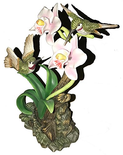 Hummingbird with Orchid Porcelain Figurine by Lefton