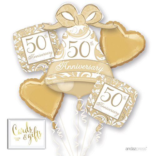 Andaz Press Balloon Bouquet Party Kit with Gold Cards & Gifts Sign, 50th Anniversary Gold Wedding Bell Foil Mylar Balloon Decorations, 1-Set