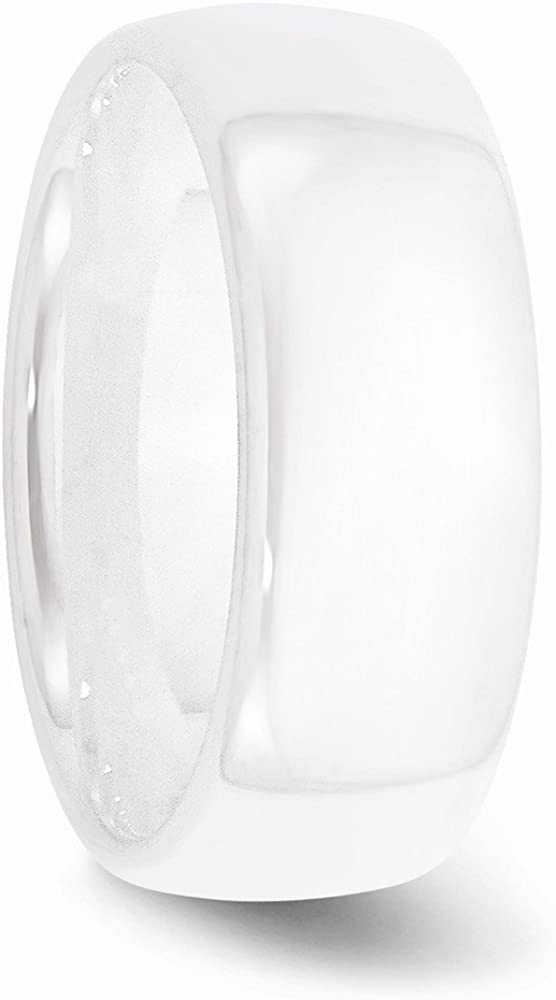 Saris and Things Ceramic White 8mm Polished Band Ring 5 to 9 Size