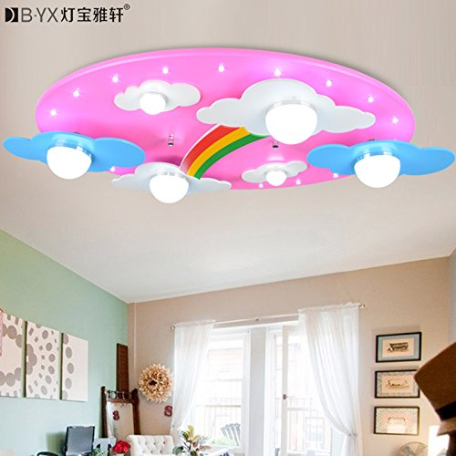 TYDXSD Warm clouds Rainbow childrens rooms lighting light LED ceiling lamp for boys and girls bedroom lamp cartoon 730400120mm , Pink