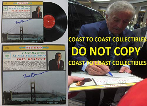 Tony Bennett signed, autographed, I Left My Heart In San Francisco Album, Vinyl Record, COA with the Proof Photo will be included. STAR