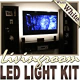 Biltek 32.8' ft Warm White Family Room Shelf Table LED Strip Lighting Complete Package Kit Lamp Light DIY - TV Couch Lighting Wall Units Fireplaces Floating Shelves Waterproof Flexible DIY 110V-220V