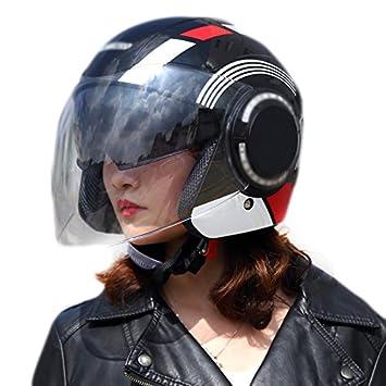 Lidauto Casco de Moto Semi Integral Abiertos Chulos Gama Alta para Dama Hombre,Style-