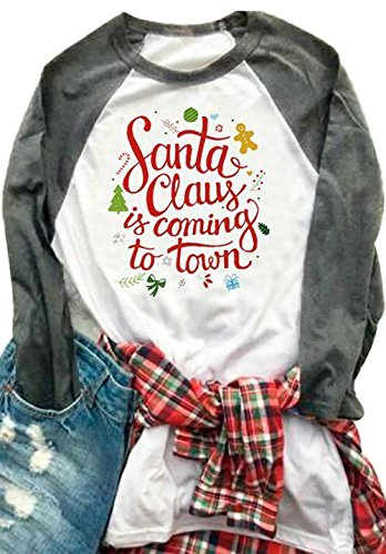 Women Christmas Santa Claus is Coming to Town Shirt Splicing Long Sleeve Baseball Tops Blouses Size US X-Large (Gray)