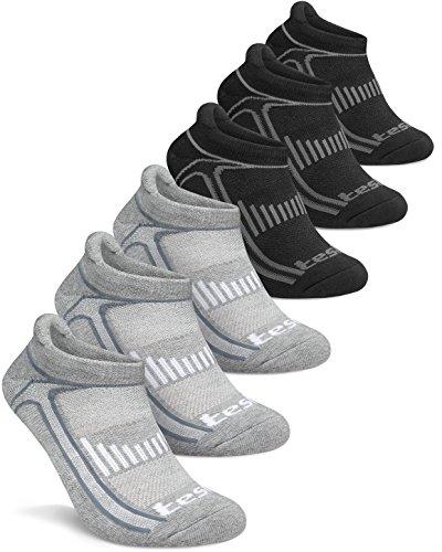 TM-MZS05-DGKZ_Medium Tesla Men's 6-Pairs Atheltic No Show Socks Cushioned Comfort w Mesh MZS05