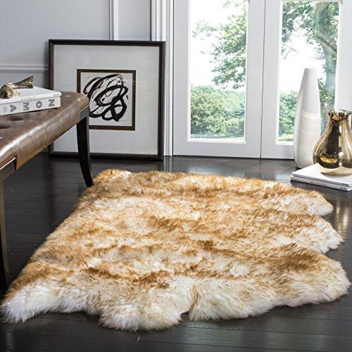 Safavieh Sheepskin Collection SHS121D Genuine Sheepskin Pelt Off-White and Coco Brown Premium Shag Rug (3' x 5') (Comfort Shag Rust Rug)
