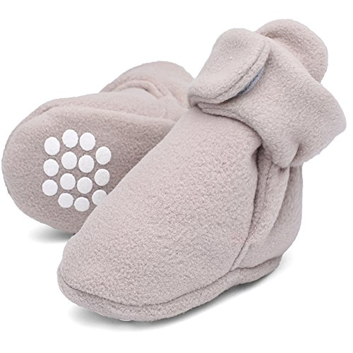 Baby Bootie Infant Socks (CIOR Baby Cozy Fleece Booties with Non Skid Bottom,DNDXBX,Gray,13)