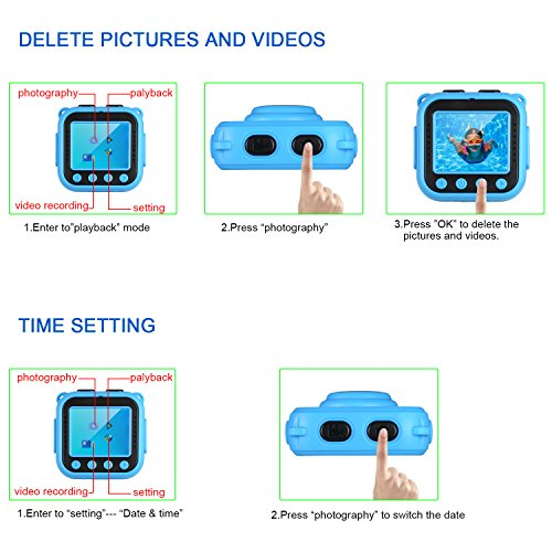 Ourlife kids Waterproof Camera with Video Recorder includes 8GB memory card (Blue) by Ourlife (Image #4)
