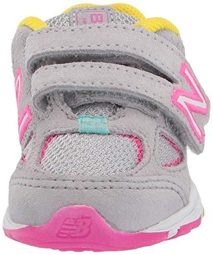 New Balance Girls' 888v2 Hook and Loop Running Shoe Grey/Rainbow 2 W US Infant by New Balance (Image #4)