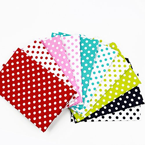 Dot Polka Fabric Cotton - 10pc Quilting Bundle Cotton Fabrics for Sewing Patchwork Wide Polka Dot Poly Cotton Fabric 40cm x 50cm