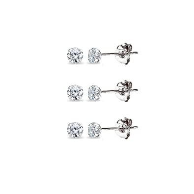 2ca7a96f7 3 Pair Set 14K White Gold Cubic Zirconia Tiny 2mm Round Stud Earrings for  Men,