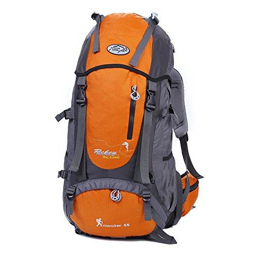 Tofern Multiuso 55 Litri Zaino Struttura Interna Trekking Donna Uomo Impermeabile Campeggio Alpinismo Arrampicata Ciclismo Escursionismo Sci Pesca Alta Capacità Borsa da Viaggio Zainetto, Arancione