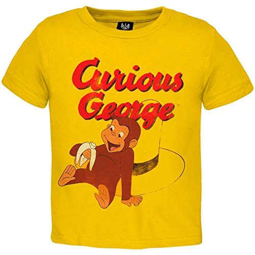 Infant T-shirt George Yellow Curious - Old Glory Curious George - Baby-boys Eating Banana Toddler T-shirt 3t Yellow