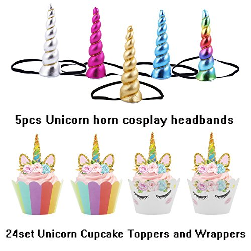 Unicorn Horn Glitter Elastic Headband Spiral Unicorn Horn cosplay Magical Unicorn Horn,Children's Party Supplies (5pcs headbans + 24set cupcake (Halloween Special Cupcakes)