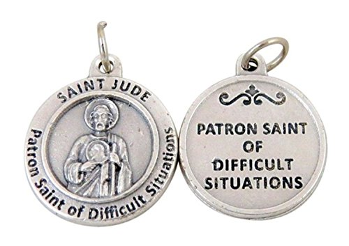Jude Patron Saint Medal - Silver Toned Base Patron of Difficult Situations Saint Jude Medal Pendant, 3/4 Inch