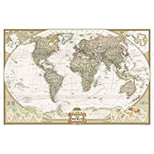 Higoo World Map, Canvas Wall Art, New Antique Vintage Classic Style Canvas Map Of The World, Globe Large Poster, Global Map, Home Office Decor Map (59.1x39.4 inch)