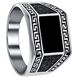 Gem Avenue 925 Sterling Silver Rectangle Black Onyx and CZ Greek Key Design Men's Ring
