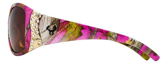 Hornz Rosa Camouflage polarisierten Sonnenbrillen für Damen Strass Akzente & freie passende Beutel aus Mikrofaser ByTSOFPa