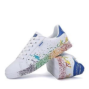 Fexkean Homme Femme Sneaker Low Top Turnschuhe Sportschuhe Freizeitschuhe Bunte Stoffschuhe