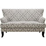 Emerald Home Cordelia Swirl Ash Gray Settee with Curved Wood Legs And Mini Wing Back Silhouette