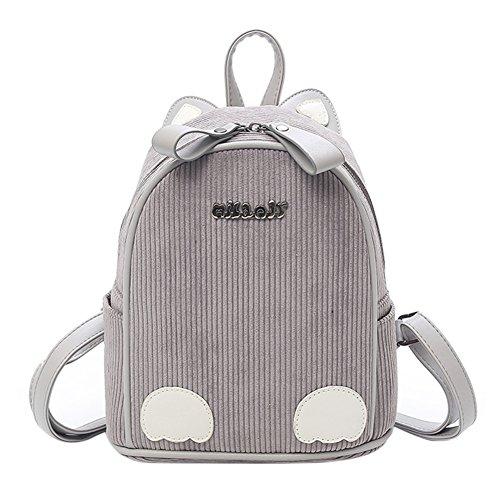 Corduroy Backpack Cartoon Cat Ear Crossbody Shoulder Bag Casual Daypacks Schoolbag Packsack for women