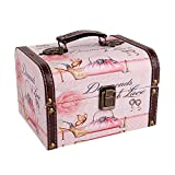 WaaHome Decorative Pink Jewelry Keepsakes Storage Boxes Wood Treasure Jewelry Chests for Kids Girls Women Gifts,(7.1''X5.6''X4.7'')