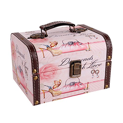 Fashion Jewelry Box Boxes - WaaHome Decorative Pink Jewelry Keepsakes Storage Boxes Wood Treasure Jewelry Chests for Kids Girls Women Gifts,(7.1''X5.6''X4.7'')