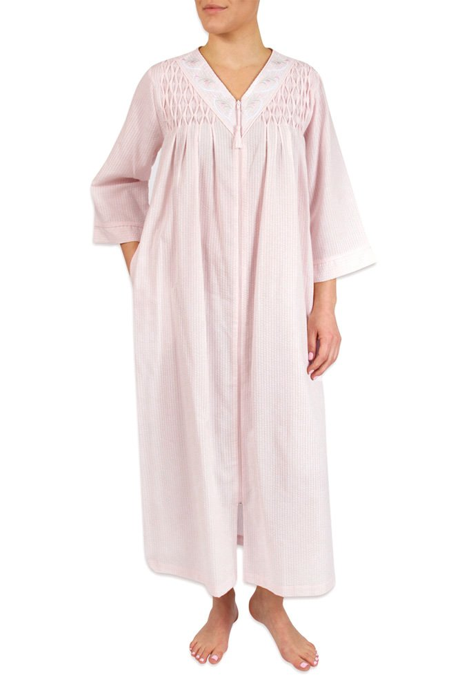 Heavenly Bodies Seersucker Robe, Long Coverup with Soft Lightweight Fabric for Summer and Easy On Full Zipper Front (3X, Pink)