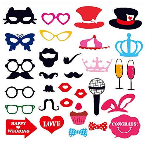 Photobooth Props - 3 Style 31pcs Diy Photo Props Wedding Decoration Birthday Party Kids Favors Fun Mask Photography - Gatsby Wonderland Of Cactus Going Party Dog Patriotic Hats Mexican ()