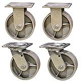 5'' Heavy Duty Semi Steel Cast Iron Casters - 2 Swivel 2 Rigid - 4,000 lb Capacity Set of 4