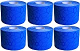 TheraBand Kinesiology Tape, Waterproof Physio Tape for Pain Relief, Muscle & Joint Support, Standard Roll with XactStretch Application Indicators, 2'' X 16.4'' Roll, 6 Pack, Blue/Blue