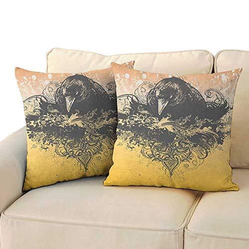 RenteriaDecor Black,Wrinkle Resistant Square Pillows 16