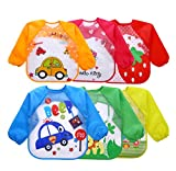 Dr.Sosmonki 6 Pack Kids Art Smocks Cartoon Pattern Children Play Artist Painting Aprons Waterproof Long Sleeve for Age 2-5 Years
