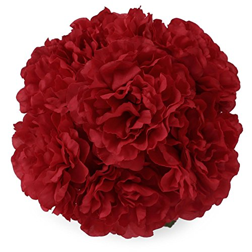 Lifelike Red Peony 7 Heads SOLEDI Artificial Flowers for Bridal Bouquet Wedding Living Room Table Home Garden Decoration