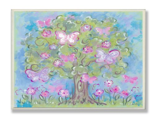 The Kids Room by Stupell Pastel Butterfly Tree Rectangle Wall Plaque by The Kids Room by Stupell