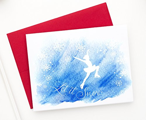 Ice Skating Holiday Greeting Cards, Let it Snow with Figure Skater and Snowflakes Set of 12