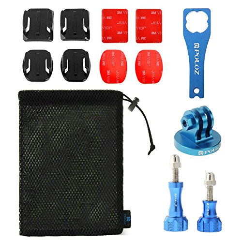 PULUZ 13 in 1 CNC Metal Accessories Combo Kit (Screws + Surface Mounts + Tripod Adapter + Storage Bag + Wrench) for GoPro HERO5 /4 /3+ /3 /2 /1