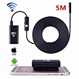 Wireless Endoscope, Housemall Wifi Borescope with 8mm Lens 6 LED Waterproof Endoscope Inspection Camera Endoscopic Semi Rigid Hard Tube and Software for Iphone IOS/Android/Smartphone/PC (5M)