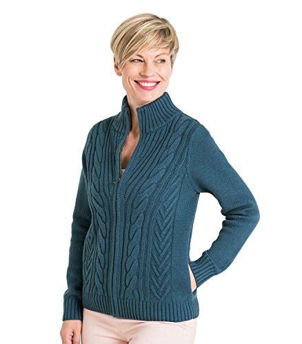 WoolOvers Womens Cable Zip Cardigan Smokey Blue, XL