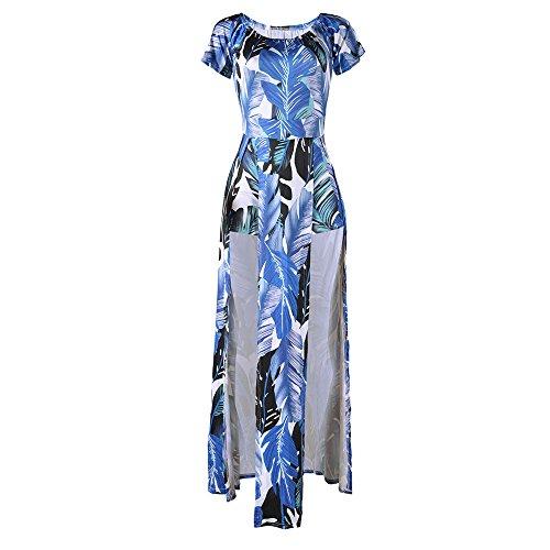 Aribelly Impression À L'épaule Des Femmes Hors Élastique Bleu Divisé Robe De Soirée