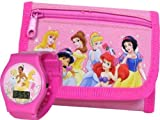 New Disney Princess Pink Wallet and LCD Watch for Girls