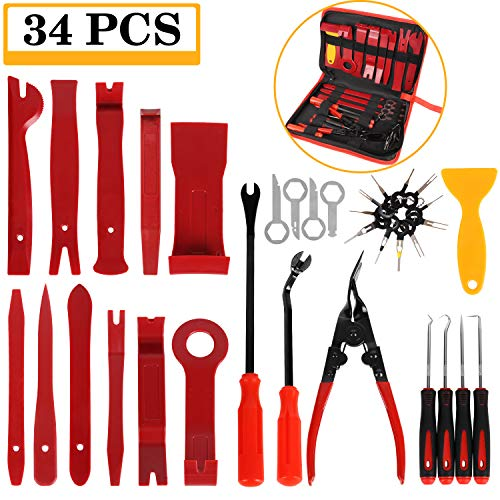 - Manfiter 34Pcs Trim Removal Tool, Pry Kit, Car Panel Tool Radio Removal Tool Kit, Auto Clip Pliers Fastener Remover Pry Tool Kit, Car Upholstery Repair Kit, Prying Tool Kit with Storage Bag