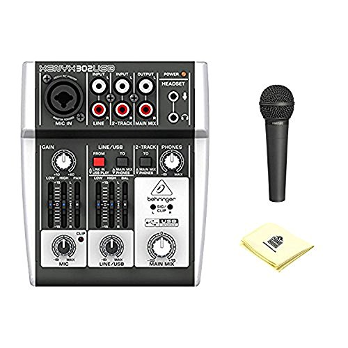 Behringer Xenyx 302Usb 5 Input Mixer Preamp Audio Interface With Dynamic Vocal Microphone And Zorro Sounds Custom Designed Mixer Polishing Cloth