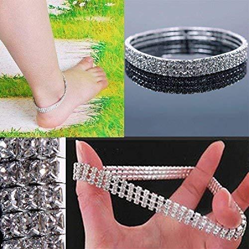NeDonald Stretchable Elastic Full RhinAnklet Ankle Foot Jewelry Barefoot Bracelet Bangle 3 Layer