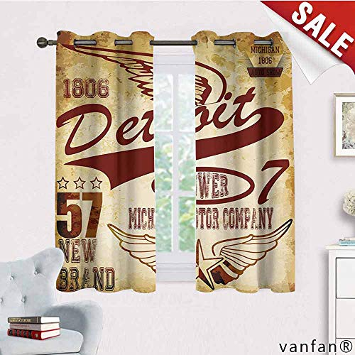 Detroit Red Wings Valance - LQQBSTORAGE Detroit,Curtains X Pattern,Vintage Elements Michigan Company Free Wings Transport Auto Show Themed,Curtains for Bedroom,Pale Yellow Burgundy