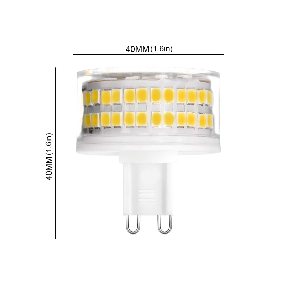 9W Equivalent to 90W Halogen Bulbs,900LM,6000K Cool White 6-Pack G9 9W LED Light Bulbs Cool White 360/° Beam Angle AC220-240V G9 Energy Saving Light Bulbs No Flicker Dimmable