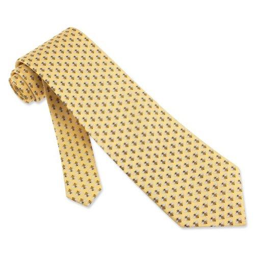 Men's 100% Silk Micro Bumble Bees Yellow Silk Tie Necktie Neckwear Alynn Novelty Yellow Silk Ties