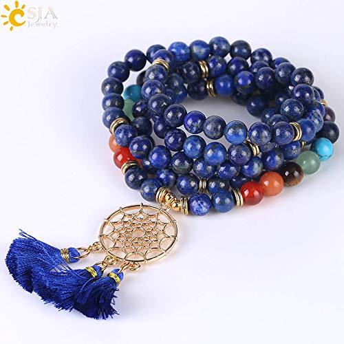 (Zozu CSJA Japamala 108 Mala Beads 8MM Natural Stone Bracelet Dream Catcher Tassel Charm Bracelet Chakra Prayer Rosary Jewelry F484 (Lapis Lazuli))
