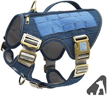 Auroth - Arnés táctico para perro, sin tirar, ajustable, arnés reflectante K9 de entrenamiento de trabajo para mascotas, servicio militar, arnés para perro, fácil control para perros pequeños, medianos y grandes 2